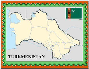 Turkmenistan national emblem map coat flag business background