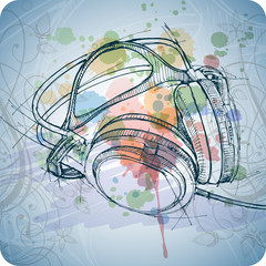 sketch of headphones on the color paint background with floral p
