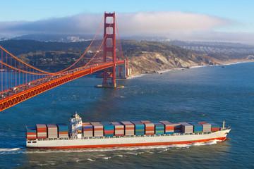 Container cargo ship under Golden Gate bridge