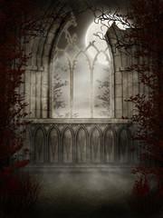 Fototapeta Gotyckie ruiny z jesiennymi drzewami obraz