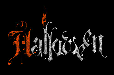 Halloween - vector sketch gothic letters on black background