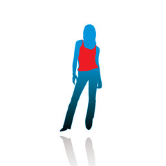 Silhouette of the woman in a T-shirt.Vector illustration