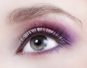 Beautiful eye with bright makeup