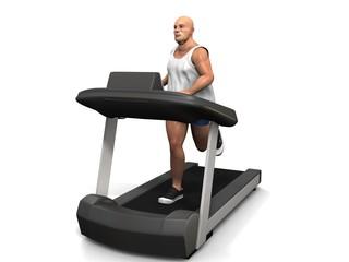 übergewichtiger Mann auf dem Laufband