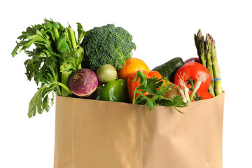 Grocery Bag With Fruits and Vegetables