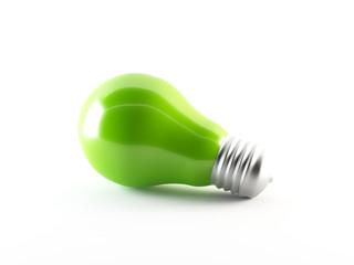 Green energy. 3D light bulb