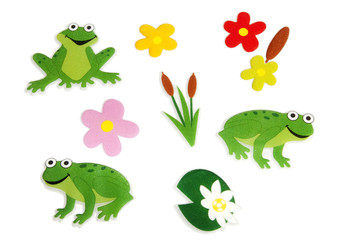 Frog and flower stickers