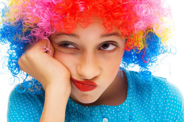 Young girl with party wig