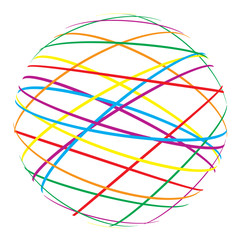 abstract sphere from color lines