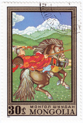 stamp printed in Mongolia shows horseman