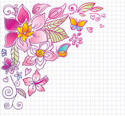 Floral background with butterfly and hibiscus. Doodles.