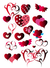 Set of hearts for Valentine's day