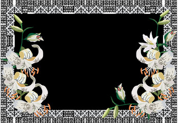 frame with white lily flowers