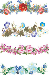 four isolated floral strips collection
