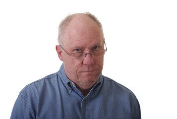 Older Balding Guy in Glasses Skeptical