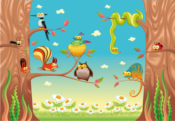 Photo sur Aluminium Coccinelles Funny animals on branches. Vector scene, isolated objects.