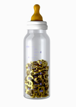 baby bottle filled  with golden dollar signs  isolated