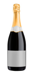 Champagne bottle isolated on white background + clipping path.