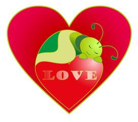 Vector illustration. Valentine love caterpillar.