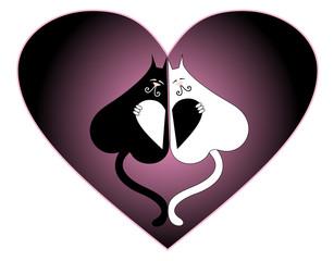 Vector illustration. Valentine love cat.