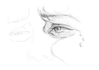 Eye in tears / realistic sketch (not auto-traced)