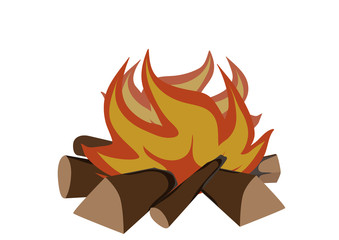 Blazing campfire on a white background