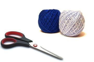 Scissors and wool balls