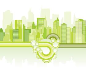 green city background  - Vector illustration