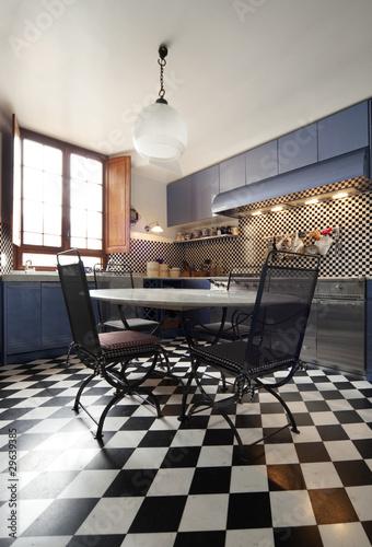 interno di grande e bella cucina, stile liberty\