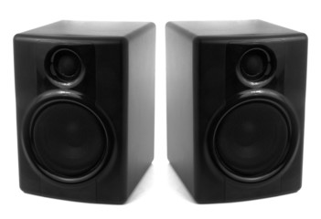 Black stereo speakers