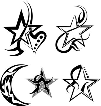 Star, Moon Tribal Tattoo