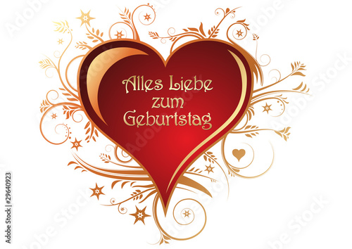 Alles Liebe Zum Geburtstag Herz Mit Ornamente Stockfotos Und
