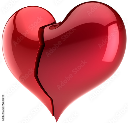 Broken Heart Shape Failure Love Symbol Depression Abstract Stock