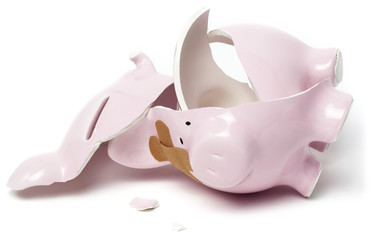 Broken piggy savings bank