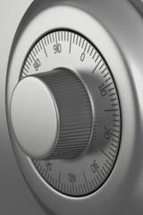 Safe dial lock close-up