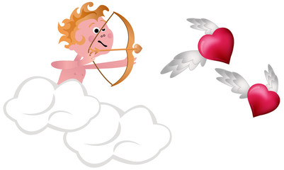 Cupid Shooting Hearts