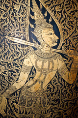 Thai art on wall at temple