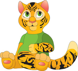 Tiger in cartoon style as a  illustration
