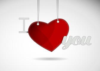 Valentine heart hanging label.