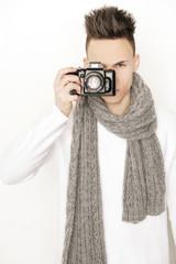 Mann mit Fotokamera