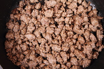 Minced meat being fried on a pan