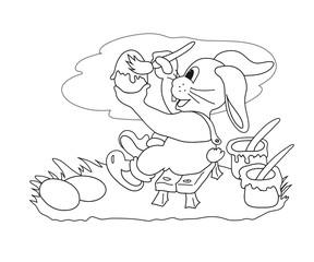 Malvorlage Hase bei der Arbeit