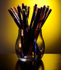 Colour pencils in a glass