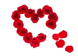 broken heart built with rose blossoms
