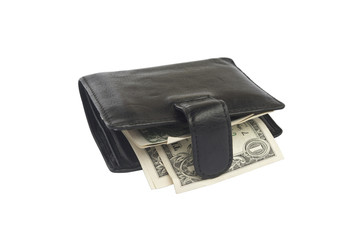 isolate wallet with dollars on a white background
