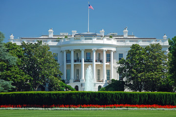 Fotomurales - The White House in Washington DC with beautiful blue sky