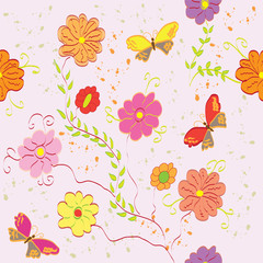 Seamless abstract floral pattern with butterfly