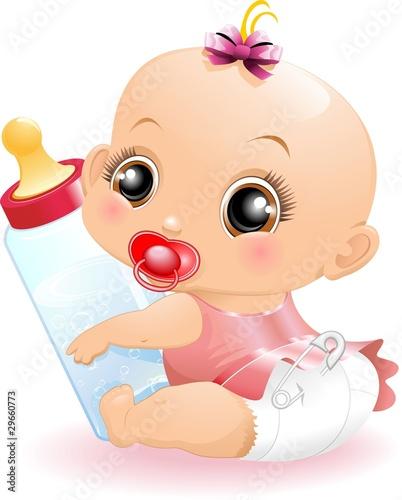 Quot Neonato Beb 232 Con Biberon Baby With Baby Bottle 2 Vector