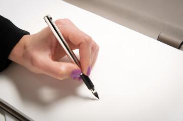 Woman hand writing