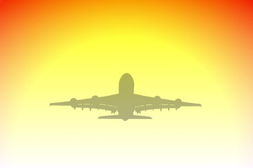 large passenger aircraft silhouette and sunset illustration